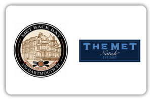 Met Bethesda logo, the met card logo, met buger bar logo, met on main logo, met bar and grill logo over white background